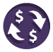 Icon of arrows and dollar signs making a circle